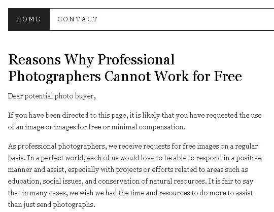 Néhány érv, hogy miért nem dolgozhatnak a profi fotósok ingyen