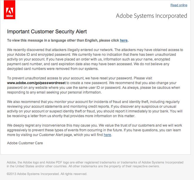 Feltörték az Adobe szervereit, 2.9 millió felhasználó adatai veszélyben
