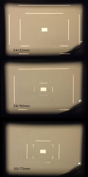 Leica M8 kereső (az újabb, fullframe M-ek esetében mások a keretek)