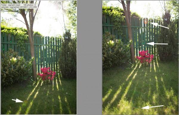 Sigma 24 becsillanás, nap a képhatáron belül és nap a képhatár szélén