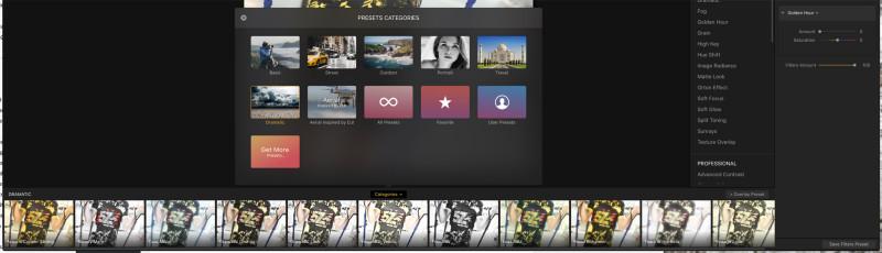 Presetek - felül a Preset kategóriák, alul a kiválasztott Dramatic kategóriában található presetek