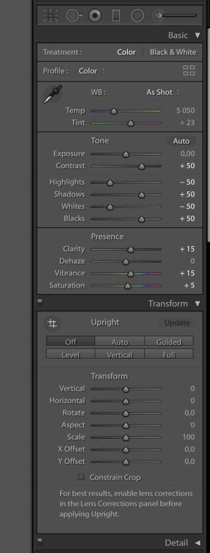 Újrarendezés után: Transform panel a Basic alatt